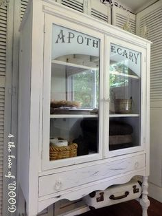 how to apothecary cabinet- hmmm my china cabinet turned apothecary. Furniture Projects, Furniture Makeover, Home Projects, Painted Furniture, Diy Furniture, Cottage Furniture, Crafty Projects, Vinyl Projects, Apothecary Cabinet