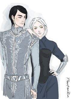 "Saint hedgehogs, I'm having so much fun drawing these two! Dorian & Manon (""Throne of Glass"" by Sarah J.Maas @ sjmaas.tumblr.com/ )"