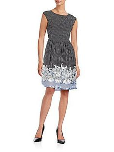 Max Studio Floral-Hem Fit-And-Flare Dress - Black - Size
