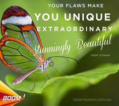 Your flaws make you unique, extraordinary, stunningly beautiful. - Trent Leyshan