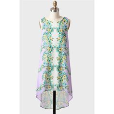 Fragrant Meadow High-Low Shift Dress ($43) ❤ liked on Polyvore