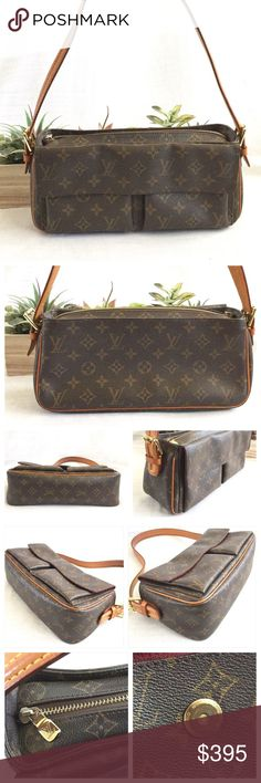 """SOLD🌴Host Pick🌴Louis Vuitton Viva-Cite MM Bag Summer Staples HP by Jennifer @jiffyjenny18 7/1616💕Authentic Louis Vuitton Viva-Cite MM Bag.  Measures about 11.75"""" L x 5.25""""H x 3.37"""" D.  Monogram canvas, leather trim, gold tone hardware, adjustable strap, top zip closure, two exterior pockets with flap and snap closure, two interior slip pockets and red alcantara fabric lining.  In great condition.  Light piping wear, small ink spots on lining bottom and smudges from use.  Nothing major…"""