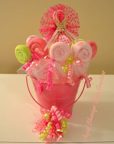 Large Baby Washcloth Lollipop Centerpiece Baby Girl Shower 10 Favors  Fairy Decoration Ready To Ship Unique Welcome Baby Gift