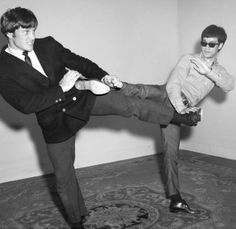 Two of the greats facing off--Joe Lewis and Bruce Lee.