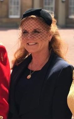June 1, 2019 | Royal Hats Duchess Of York, Duke Of York, Princess Beatrice, Princess Eugenie, Yellow Lace Dresses, Sarah Ferguson, Black Felt, Black Button, Headpiece