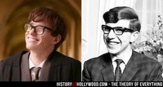 Eddie Redmayne (left) and the real Stephen Hawking (right). Redmayne portrays Hawking in The Theory of Everything movie. See more pics here http://www.historyvshollywood.com/reelfaces/theory-of-everything/