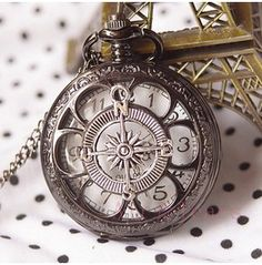 Black Hollow Six Leaf Compass Pocket Watch Necklace