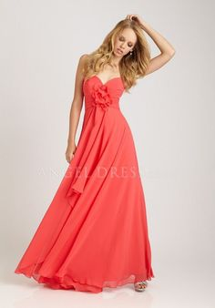 A line Sweetheart Chiffon Empire Floor Length Sleeveless Bridesmaid Gown
