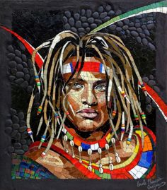 A African man mosaic portrait,author Carole Choucair,made with stoned,glass and ceramic. Iridescent Tile, Mosaic Portrait, Mosaic Artwork, African Men, Create Image, Black Art, Mosaic Tiles, Ceramic Art, Art Forms