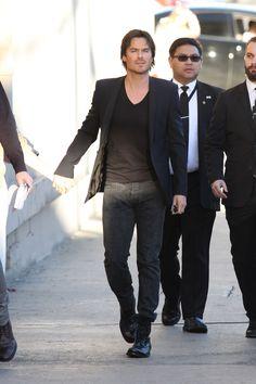 Ian Somerhalder arrive to Jimmy Kimmel Live! Boone Carlyle, Ian Somerholder, Hot Vampires, Original Vampire, Jimmy Kimmel Live, Damon Salvatore, Delena, Vampire Diaries, Future Husband