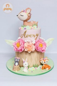 Animals Birthday Cake - # Baby Cakes - From my HoMe Baby Cakes, Baby Shower Cakes, Girl Cakes, Baby Girl Shower Themes, Baby Shower Decorations, Animal Birthday Cakes, Baby Birthday Cakes, Birthday Parties, 1st Birthday Cake For Girls