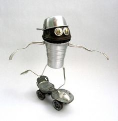 Alf 2 - Found Object Skate Robot Assemblage Sculpture by Brian Marshall