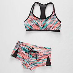 Hurley Static Girls Crop/Boyshort Bikini Set Multi  In Sizes