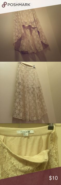 Forever 21 Cream Lace High Low Skirt S MOVING SALE Excellent condition. Size s Forever 21 Skirts High Low