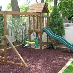 Our customer has chose to use the Play Area Rubber Chippings in Brown, which compliment wooden play area frames perfectly and are a great alternative to Play Bark. Kids Outdoor Play, Kingfisher, Deco, Garden Ideas, Alternative, Shed, Frames, Layout, Adventure