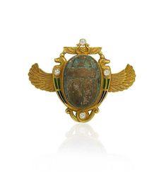 Egyptian Revival Scarab Brooch