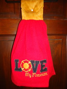 Appliqued Love my Fireman Kitchen Towel by Marshaslilcraftpatch on Etsy
