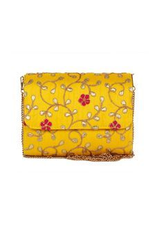 Flap Clutch With Yellow Embroidery by Pink Cocktail, Clutches & Potlis