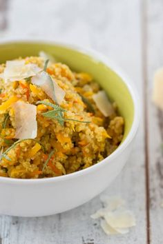 Kürbis-Quinoarisotto mit Parmesan Risotto, Parmesan, Curry, Ethnic Recipes, Foods, Happy, Cooking Recipes, Food Food, Curries