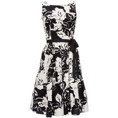 Black Floral Print Petite Dress ($88) ❤ liked on Polyvore