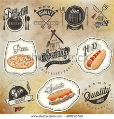Bon Appetit! Enjoy your meal! Retro vintage style hand drawn typographic symbols for restaurant menu design. Set of Calligraphic titles and symbols. Ham , hot dog and sandwich realistic illustration. - stock vector