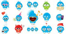 Now you can send little blue bird emoticons over to Facebook