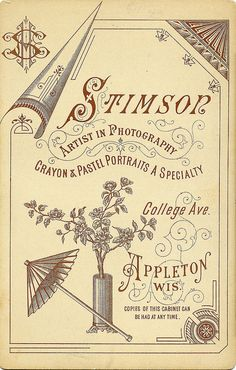 Cabinet Card Back by Stimson, Appleton, Wisconsin. by depthandtime, via Flickr