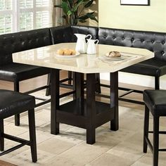 New 6pc Britney Ii Marble Top Espresso Finish Wood Corner Dining Nook Table  Set | Corner Dining Nook, Nook Table And Marble Top