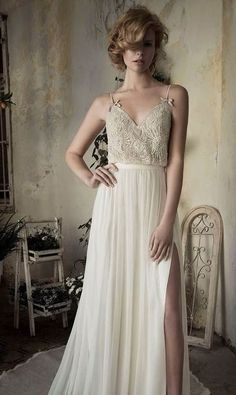 We've already shared some sexy wedding dresses, and today I'd like to be more specific about one type of them: wedding gowns with a slit. Bohemian Style Wedding Dresses, 2015 Wedding Dresses, Bridal Style, Boho Wedding, Bridal Dresses, Wedding Gowns, Whimsical Wedding, Boho Bride, Farm Wedding