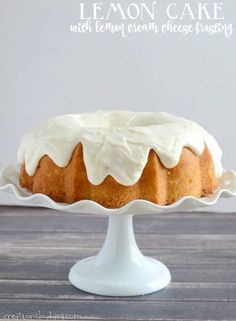 Lemon Bundt Cake with lemon cream cheese frosting. A perfect cake for lemon lovers. Lemon Desserts, Lemon Recipes, Delicious Desserts, Dessert Recipes, Spring Desserts, Yummy Food, Cupcake Recipes, Fun Food, Yummy Recipes
