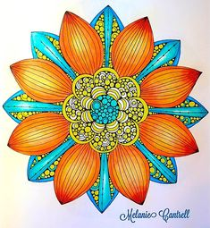 "Page from, Design Original's, ""Creative Coloring Mandalas"" by Valentina Harper.  (Photo share only, no link to website.) Colored by Melanie Cantrell"