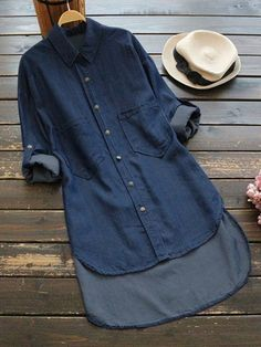 Sexy 2019 Women's Denim Dress Button Turn-Down Collar Shirt Dress Casual Straight Asymmetric Hem Dress with sleeves, plus sizes available Available in light denim and dark denim Available in SMALL to Please see sizing chart Casual Shirt Look, Casual Shirts, Denim Shirts, Dress Casual, Blue Shirts, Maxi Shirts, Mode Abaya, Mode Hijab, Look Jean