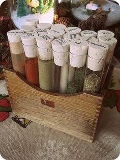 Test Tube Spice Rack I recently discarded all of my old spices. Starting a 'test tube' rack is perfect for me since I buy most of my spices in very small amounts in the bulk food section. Test Tube Spice Rack, Diy Spice Rack, Spice Storage, Spice Organization, Pantry Storage, Kitchen Storage, Spice Drawer, Cabinet Storage, Organizing Tips