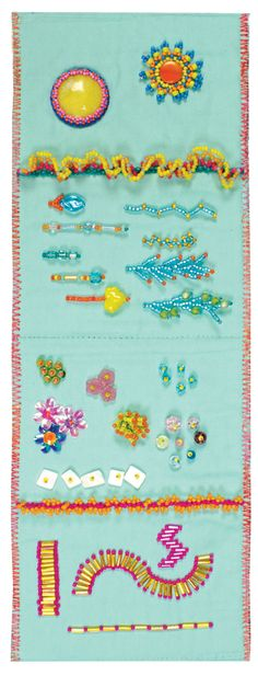 """Beaded Signature"" from First-Time Beading on Fabric by Liz Kettle. Learn to make a beaded sampler book so that you can refer to the nine basic beading patterns again and again! Find it online: http://landauerpub.com/First-Time-Beading-on-Fabric.html"