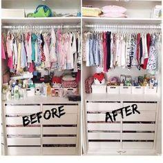 21 Trendy Baby Nursery Closet Organization Tips Baby Nursery Closet, Baby Girl Closet, Kid Closet, Room Closet, Baby Bedroom, Baby Room Decor, Bedroom Kids, Closet Ideas, Trendy Baby