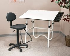 "Creative Cntr Drafting Combo by Alvin. $205.40. A drafting-height table combination for every creative need. Fold-away design for convenient storage. All components packed securely in one UPS-able box. 78 lbs.   Onyx Drawing Table  White base with 30"" x 42"" white Melamine(R) tabletop. Height adjusts from 29"" to 44"" in horizontal position. Angle adjusts from horizontal (0 deg) to 45 deg. Pencil ledge included.   Gas-Lift Drafting Chair  Black upholstered seat and backrest..."