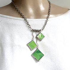 Mottled Green - Stained Glass Necklace. Starting at $1 on Tophatter.com!