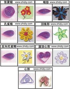 4种衍纸花的制作之1———使用一些基础的衍纸造型来制作简单的花朵 http://www.zhidiy.com/gongyizhiyi/775/