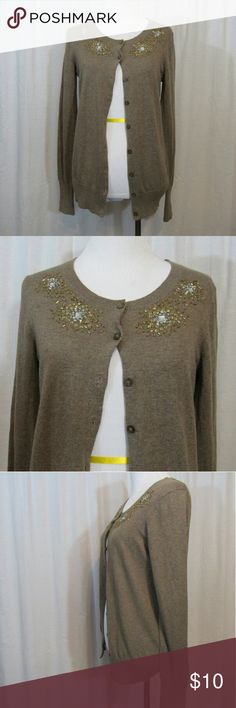 """Old Navy Brown Embellished Cardigan Top S Brand: Old Navy  Size: S Material: 100% Cotton  Care Instructions: Machine Wash  Bust: 38"""" Shoulders: 16"""" Sleeves: 15"""" Length: 25""""  All clothes are in excellent used condition. No tears, stains or holes unless otherwise I noted.   P20 Old Navy Tops"""