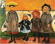 FOUR  GIRLS in Arsgardstrand-1903.  Edvard Munch (1863-1944) fue un pintor y grabador noruego de la corriente expresionista. Sus evocativas obras sobre la angustia influyeron profundamente en el expresionismo alemán de comienzos del siglo