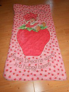 "Vtg 1980 80s Strawberry Shortcake Fabulous Colorful Sleeping Bag 65""X32""   eBay"