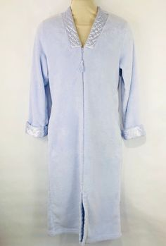 Miss Elaine Womens Bath Robe Small Plush Soft Light Blue Long Zip Up  Pockets  MissElaineRobe b11431922