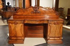 A Large Mahogany Early Victorian Period Antique Sideboard