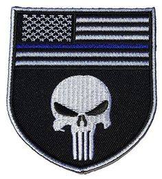Iron on Black and white Skull Design with Thin Blue Line Police Devgru Seal Team Punisher American Flag Patch- By Patch Squad