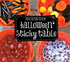 Invitation to Play & Create - Halloween Sticky Table Art Do on the big window, During Halloween Party