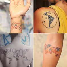 These 61 Map Tattoos Will Give You Major Wanderlust 4, 5, 9, 16, 20, and 38 are my favorites, 5 being my #1 for the blue splatter/shading.