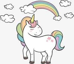 Seven color rainbow unicorn PNG and Vector