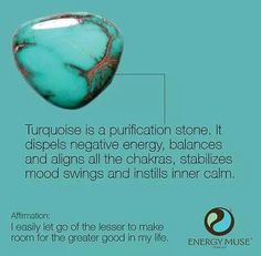 Turquoise, the Master Healer Stone, brings powerful energies to strengthen your overall body. Perfect for balancing your Throat Chakra. Crystals Minerals, Crystals And Gemstones, Stones And Crystals, Gem Stones, Story Stones, Blue Crystals, Crystal Healing Stones, Crystal Magic, Healing Rocks