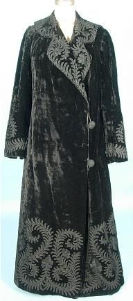 c. 1920s full-length black crushed velvet coat with soutache and embroidery trim