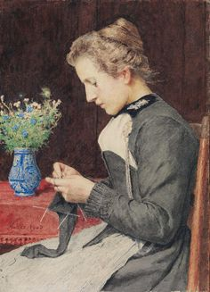 """Knitting Young Woman with Vase of Flowers"", also known as ""Strickende junge Frau mit Blumenstrauss"" (1903), by Swiss artist - Albert Anker (1831-1910), Medium unknown, Dimensions unknown, Owner/Location unknown."